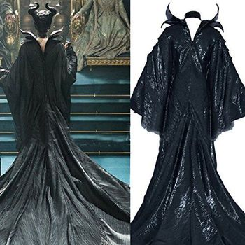 Maleficent dress + Horn Black Witch adult men women costume Custom made Maleficent cosplay suit Halloween costumes