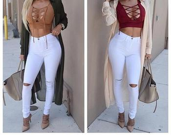 Skinny holes pants high waisted pants women trousers black white plus size womans feminino