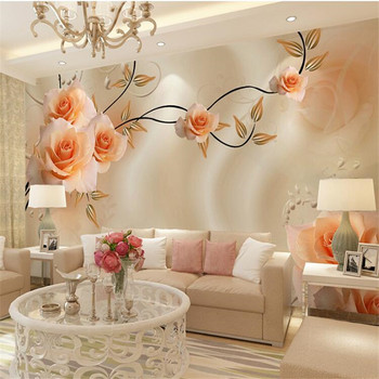 Large Painting Home Decor Silk peony flowers Hotel Background Modern Mural for Living Room Murales De Pared 3d Wallpaper