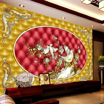 Custom living room backdrop wallpaper bedroom wallpaper Chinese bird flower painting three-dimensional relief murals soft pack