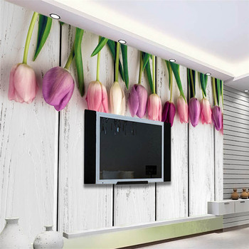 Wall Panel Wallpaper Retro White Wooden Tulips Background Modern Europe Art Mural for Living Room Large Painting Home Decor