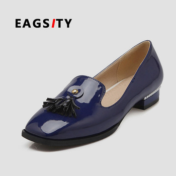 Fashion patend leather women loafer office career shoes lady flat tassel slip on girl shoes