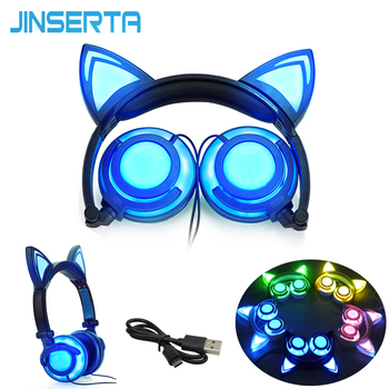 2017 Foldable Flashing Glowing cat ear headphones Gaming Headset Earphone with LED light For PC Laptop Computer Mobile Phone
