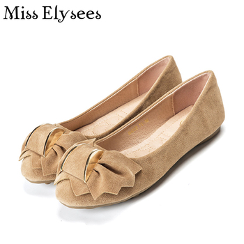 Comfortable Soft Suede Leather Women Flat Shoes Bowknot Sweet Ballet Flats Woman Spring Summer Women's Leisure Shoes Plus Size42