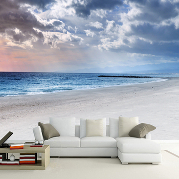 Modern Simple Blue Sky And White Clouds Seaside Landscape Photo Wallpaper Restaurant Living Room Backdrop Wall Nature 3D Mural