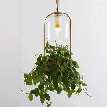 Minimalist Pastoral Chandelier Modern Restaurant Creative Ecological Study Cafe Bedside with Water for Glass Plant Chandelier