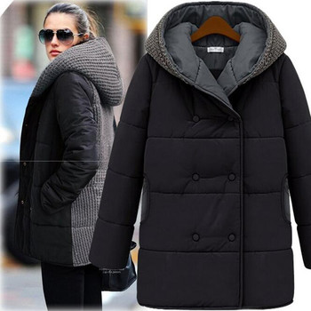 Winter Knitted Patchwork Coat Women Plus Size Black Beige Warm Hooded Thicken Zipper Jacket Coats Manteau Femme S-3XL