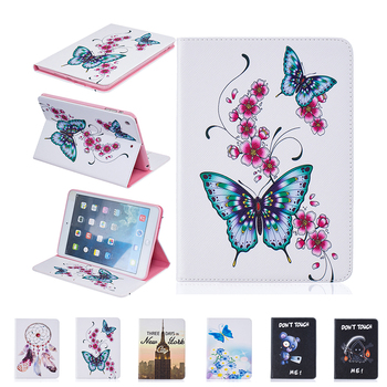 For Apple iPad Mini 4 Flip PU Leather Case Butterfly Painting Tablet Smart Slim Cover with Wallet Card Bag 10 Patterns