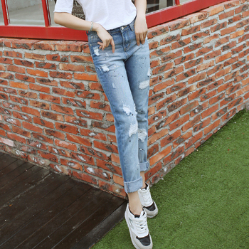 Jeans Womens 2017 Korean Fashion Vintage Ripped Hole Printed Blue Denim Pants Trousers Slim Long Pencil Pants jeans femme B65