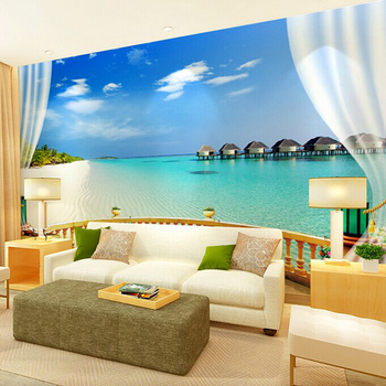 Large mural living room bedroom TV background wallpaper 3D three-dimensional film and television wall blue Aegean Sea