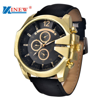 XINEW Brand New Men's Black Watches Leather Stainless Steel Quartz Military Wrist Watch Sport July7