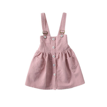 2017 Summer New Girl Suspenders Dresses Single Breasted Sleeveless Dress Fashion Girls Overalls Children Clothing