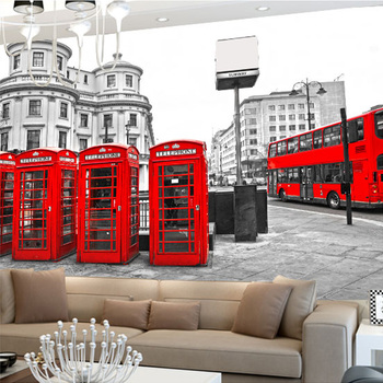 Modern Red Phone Booth Bus Landscape Mural 3D Stereo Non-woven Moisture Photo Wallpaper Dining Room Cafe Home Decor Wall Papers