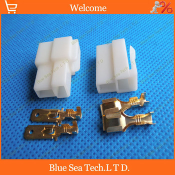 6.3mm 2 Way/pin Electrical Connector Kits, Male and Female socket plug for Motorcycle Car