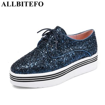 ALLBITEFO large size:33-43 square toe low-heeled platform women flats fashion Sequins flat shoes casual shoes woman