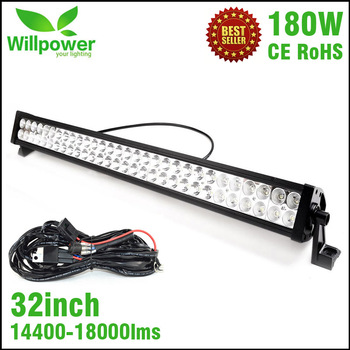 CE RoHS IP67 high power dual rows 14400lms combo car waterproof 32 inch 180W led light bar 4x4 offroad