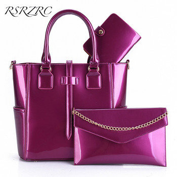 2017 European and American Style Patent Leather Three-Piece Female Handbag Women High-Grade Single Shoulder Bags