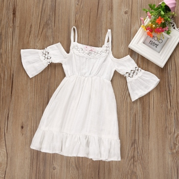 Summer Baby Girls Three Quarter Flare Sleeve Dress Solid Shoulderless Girls Dresses