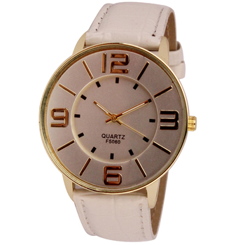 Womens Ladies Fashion Numerals Gold Dial Leather Analog Quartz Watch #2554 Brand New Luxury