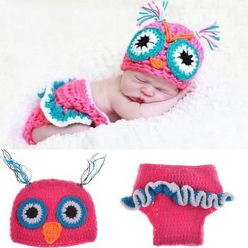 Wool Weave sewing patterns Photograph Owl Hats Children's Photo Props
