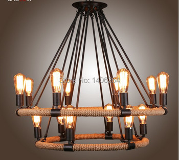 RH LOFT Edison Vintage Style Double-deck 16 Light Wrought Iron Woven Hemp Rope Chandelier For Cafe Bar Store Coffee Shop Decor