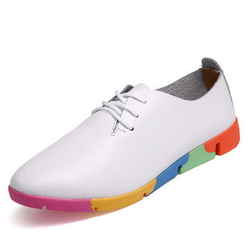 The spring and Autumn New white shoe leather strap female flat shoes pointed deep soft bottom shoes casual student