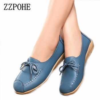 ZZPOHE spring and autumn new lace mother Flat shoes fashion shallow mouth Peas shoes tendon casual Women Leather shoes 35-40