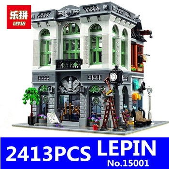 Brick Bank Model LEPIN 15001 2413Pcs Creator Educational Building Kits Blocks Bricks Toy for Children Gift Compatible With 10251