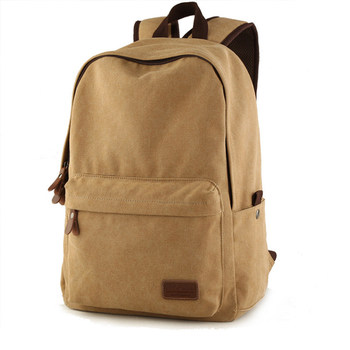 Korean Style Fashion Casual Laptop Backpack Men Canvas Travel Backpack Women Solid Color Simple Designer School Bag
