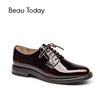 BeauToday Genuine Leather Derby Shoes Women Spring Autumn Round Toe Lace-Up Patent Leather Ladies Office Flats 21088