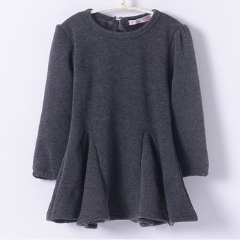 Fall winter cotton thickening poly spun velour long-sleeved pleated dress Children Kid Girls Dress Girl Clothing Kids Clothes