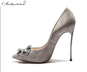 2017 spring newest party girls gray Shoes thin heel pointed toe heels stilettos suede leather shoes women real leather pupms