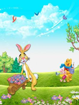 Anti-crease material background lovely cartoon garden rabbit photography backdrop for photography backgrounds props HG-237-A