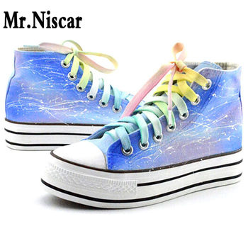 LEO Women Graffiti Hand Painted Platform Shoes High Top Style Gradient Rainbow Striped Colorful Harajuku Girls Canvas Shoes