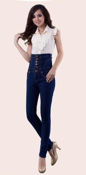 Winter occident fashion vintage plus size S-4XL high waist add wool thicken pencil cowboy denim women jeans D193