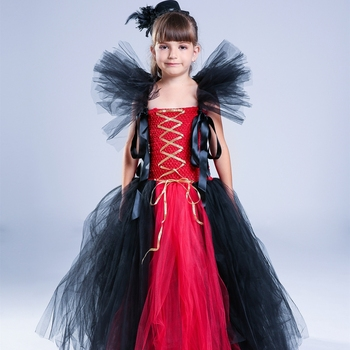 Halloween Witch Costumes Girls Dress Autumn and Winter Large Children's Clothing Cosplay Tutu Girl tutu dress Black red