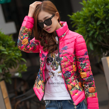 Cotton Padded Ladies Warm Parkas Outerwear 2016 New Winter Jackets Flower Printed Fashion Stand Collar Women Jackets CT150
