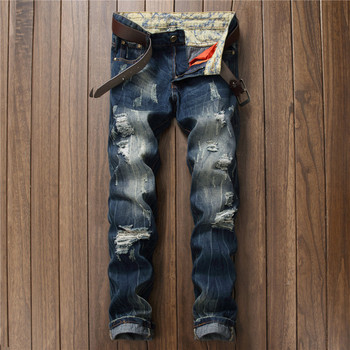 New Men Jeans 2017 Brand Jeans Men Size 28 To 38 Retro Blue Hole Jeans Slim Fit Men Jean For Man Trousers