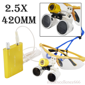 CE Approved 2.5X Dental Loupes, Surgical loupes working distance 420mm Yellow For Dentist