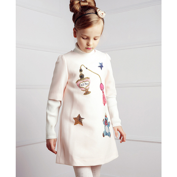Girls Dress Winter 2017 Brand Princess Dress Children Clothing Mouse Print Beading Kids Clothes Girls Dresses for Birthday Gift