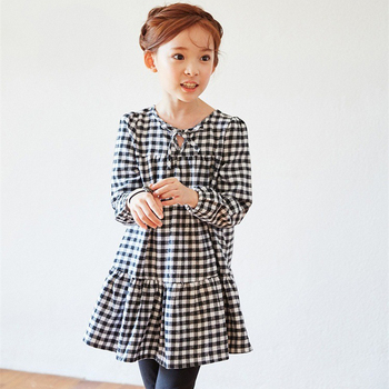 2017 Spring Fall New Design Fashion Children Girls White Black Plaid Princess Dress Kids Cotton Party Clothes Vestido Infantil