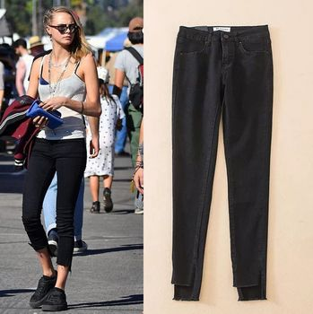 2017 Fashion Vintage Jeans Woman High Waist Slim Was Thin Before The Long Open Fork Jeans Wild Trousers Women