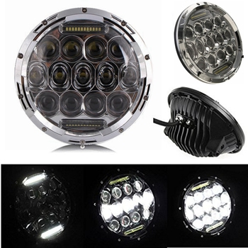 Pair 75W Headlight LED H4 Plug H13 DRL HI/LO Beam For Jeep JK TJ CJ Hummer