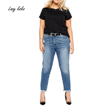 Lazy KoKo Plus Size New Fashion Women Big Size Denim Style Big Size Hole Casual Skinny Pants 3XL 4XL 5XL 6XL