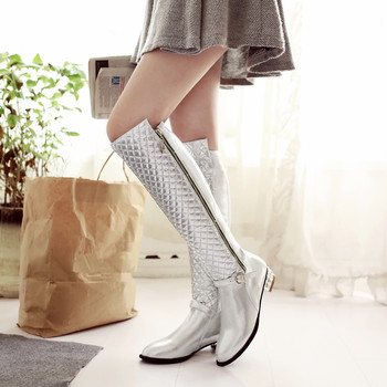 Top quality autumn women boots 2017 fashion silver gold womens knee high boots femme ladies black long boots big size 34-45