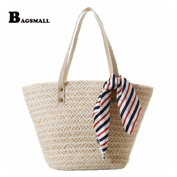 BAGSMALL Brand Summer Holiday Knitted Straw Bag With Scarve Women Woven Beach Bag For Travel Girl Shoulder Handbag Tote Bag