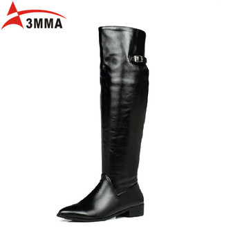 3MMA 2016 Handmade Large Size Women Over The Knee Boots Ladies Black Patent Leather Pointed Toe Buckle Thigh High Long Boots