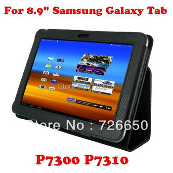 New Leather Stand Cover Case for Samsung Galaxy Tab 8.9 GT P7300 P7310 Black + Free Screen Protector