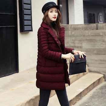 The new winter coat collar suit girls long slim padded jacket all-match Korean fashion dress tide