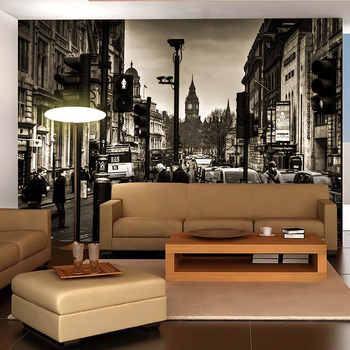 3D vintage black and white city street wallpaper mural bar Cafe dining room wallpaper